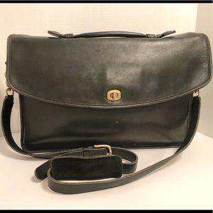 Vintage Coach Black Leather Messenger Briefcase